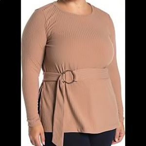 Eloquii• Ribbed Belted Blouse